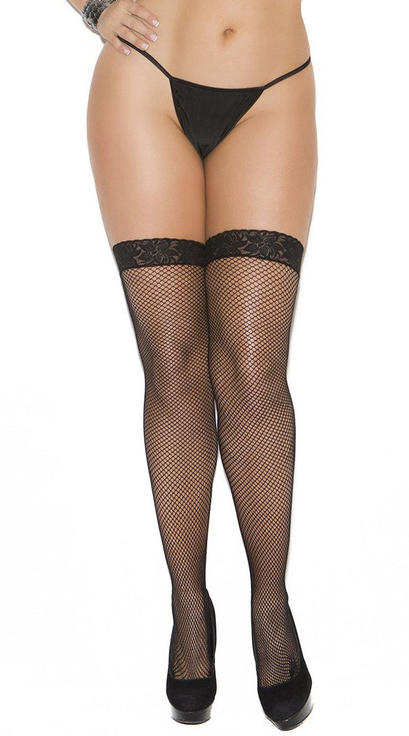 Black Fishnet Thigh High - ElegantStripper