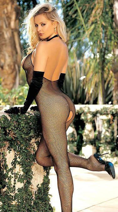 Fishnet Halter Bodystocking with Open Front