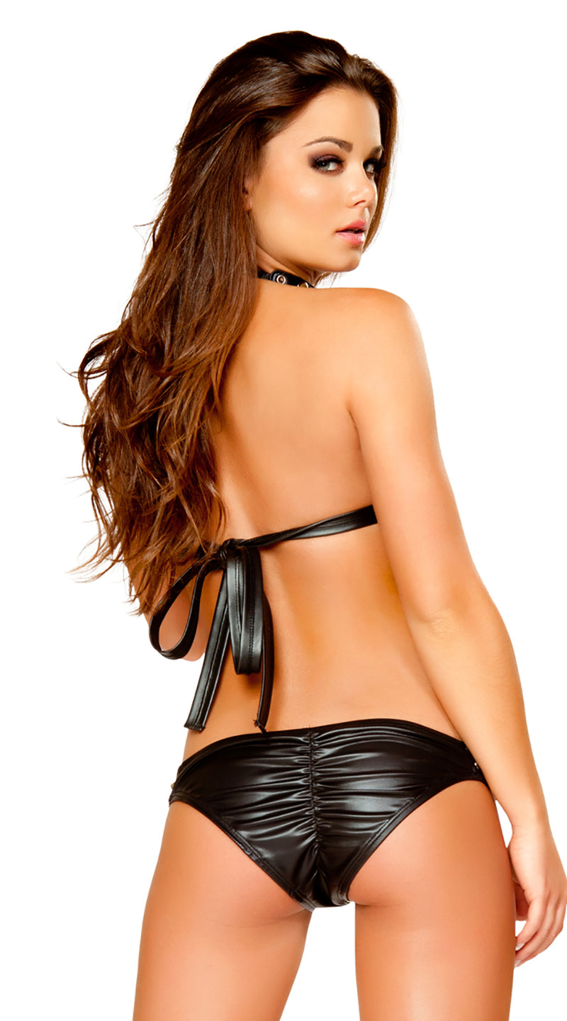 Two Piece Studded Leatherette Bikini Set