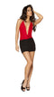 One Piece Two-Tone Low Cowl Neck Black and Red Mini Dress