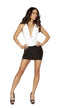 One Piece Two-Tone Low Cowl Neck Black and White Mini Dress