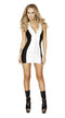 One Piece White Mini Dress with Full Zip up Front
