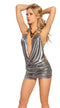 One Piece Cowl Neck Gunmetal Mini Dress