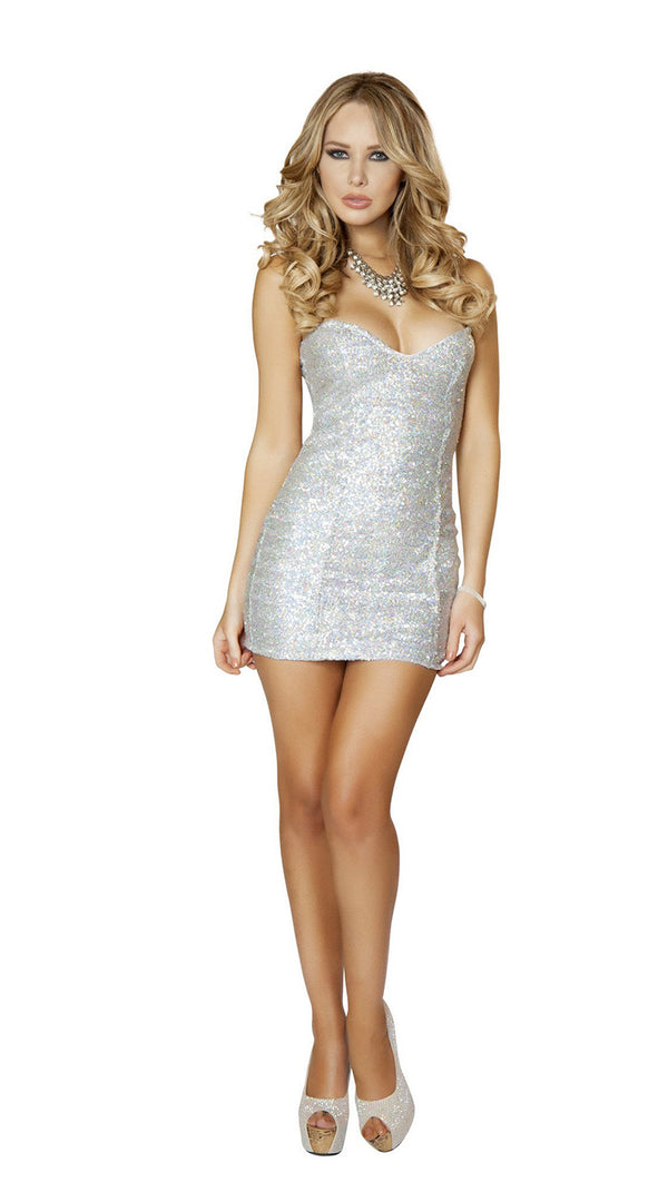 One Piece Silver Sequin Mini Dress