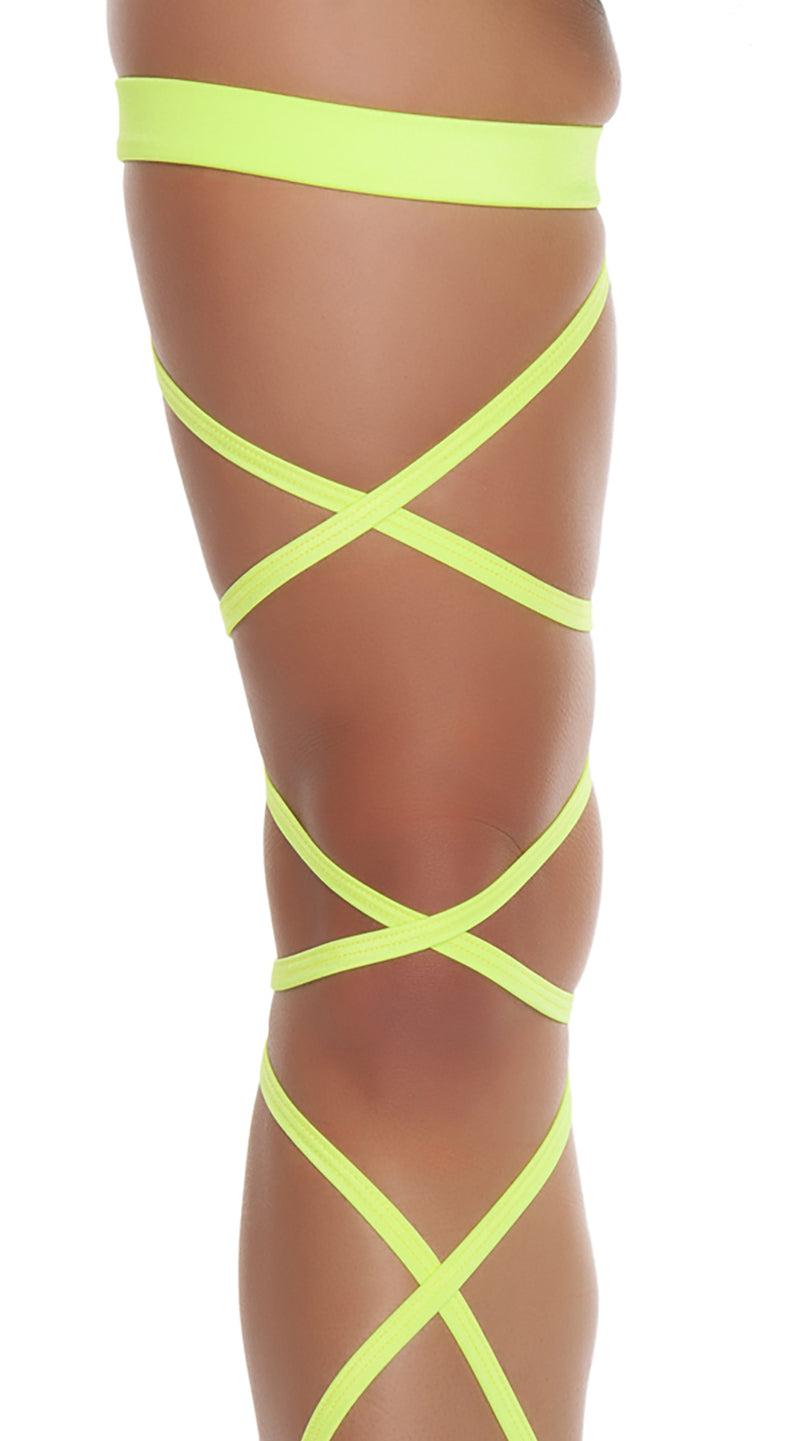 Yellow Pair of Leg Strap with Attached Thigh Garter