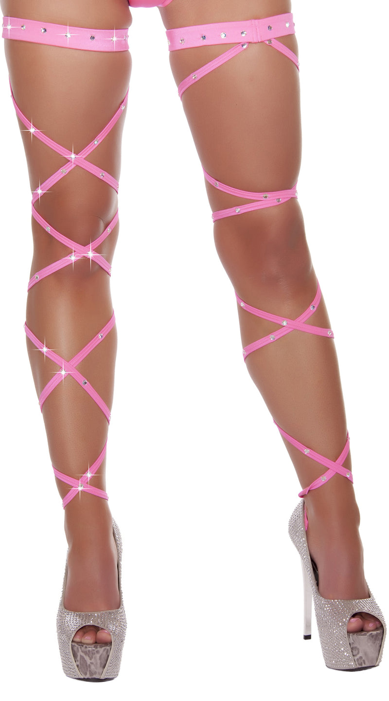Hot Pink Solid Leg Strap with Attached Garter & Rhinestone Detail