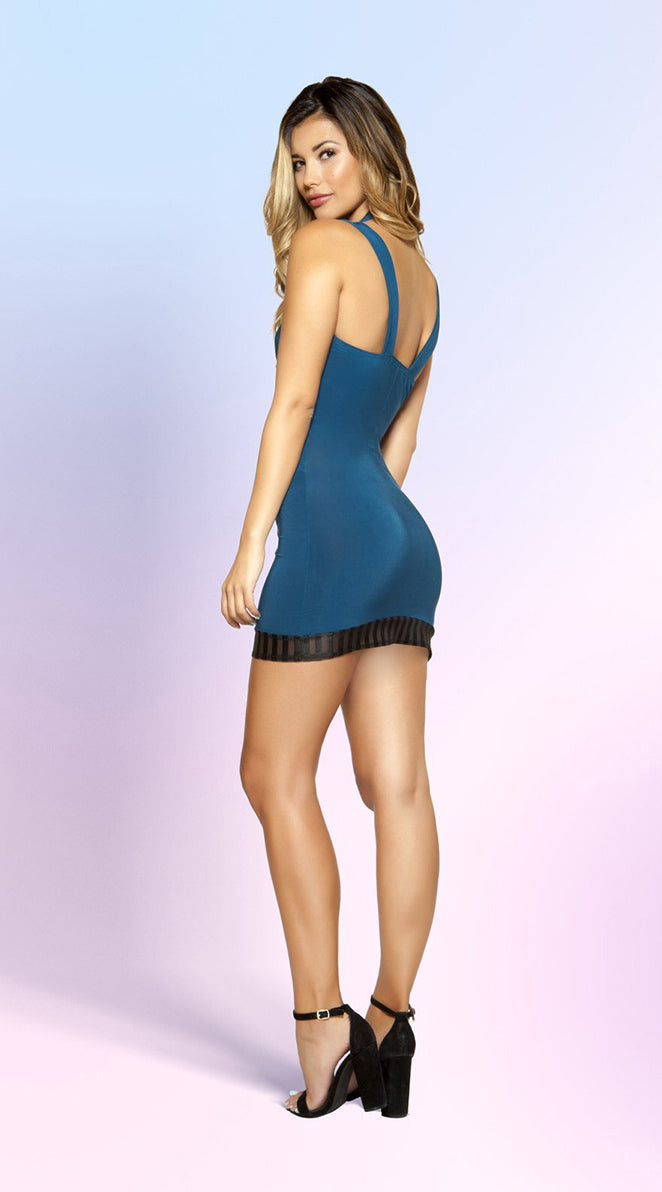 Cutout Dress with Striped Mesh Detail