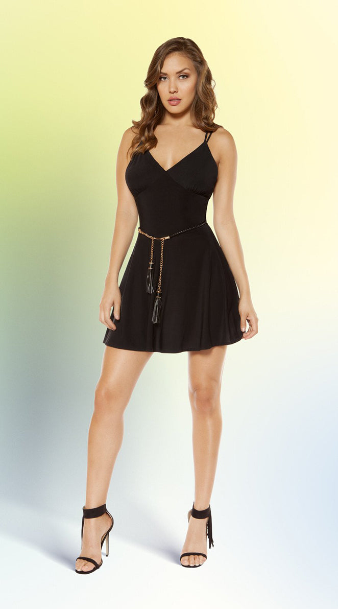 Partially Lined V-Neck Flared Mini Dress with Strappy Back Design