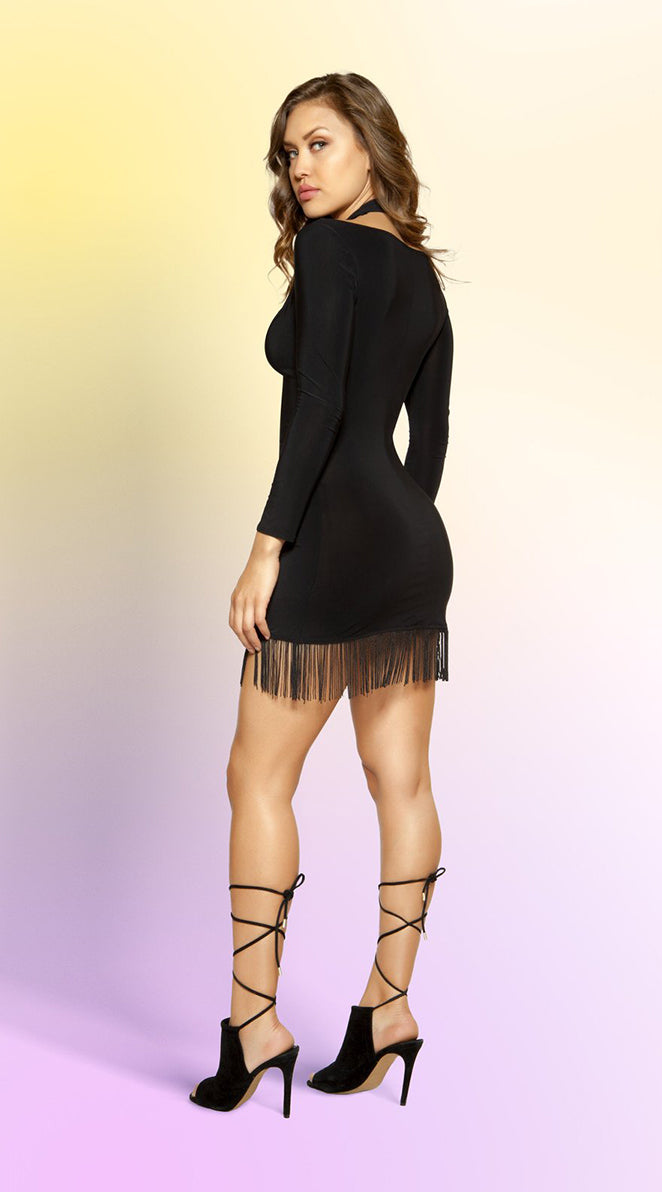 Double Strappy Lace-up Dress with Hanging Fringe Detail