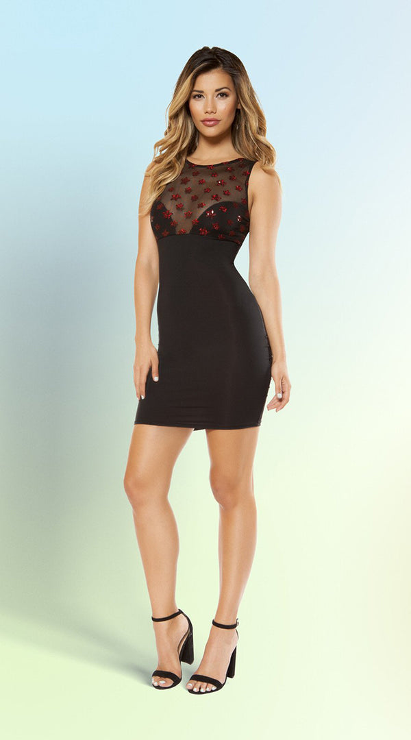 Dress with Star Shaped Glitter Sheer Mesh Top