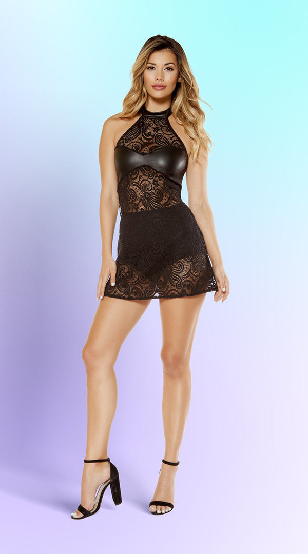 One Piece Lace Haltered Neck Dress