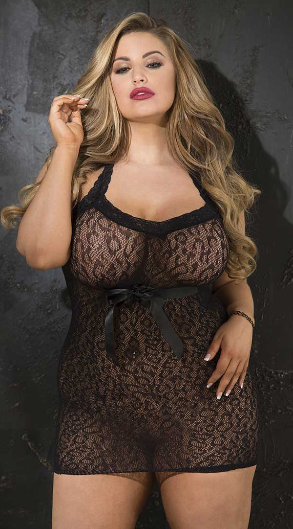 Stretch Leopard Patterned Stretch Lace Chemise