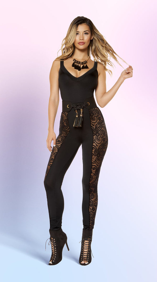 Jumpsuit with Laced Side Leg Panels