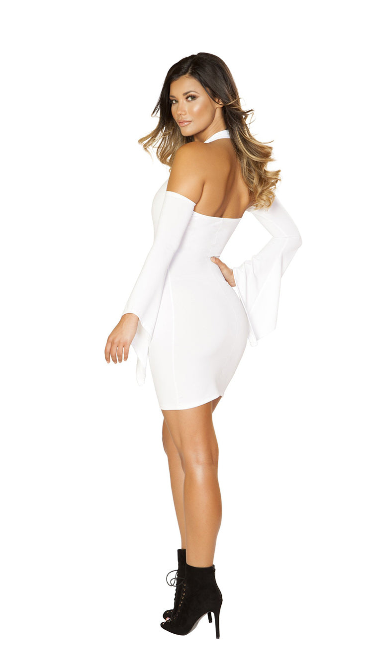 Long Flared Sleeve Dress with Cutout Shoulders