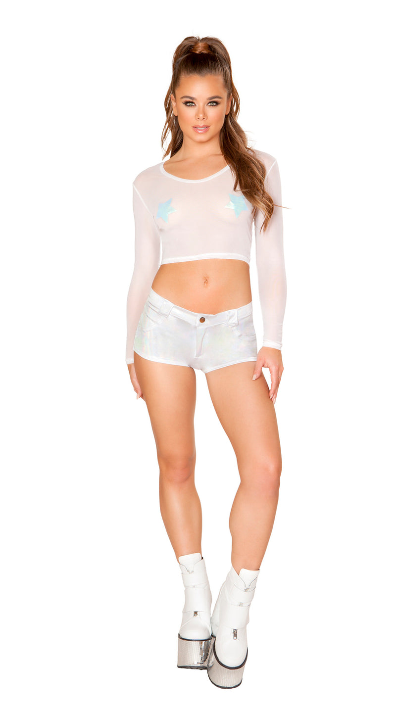 One Piece Sheer Long Sleeved Crop Top