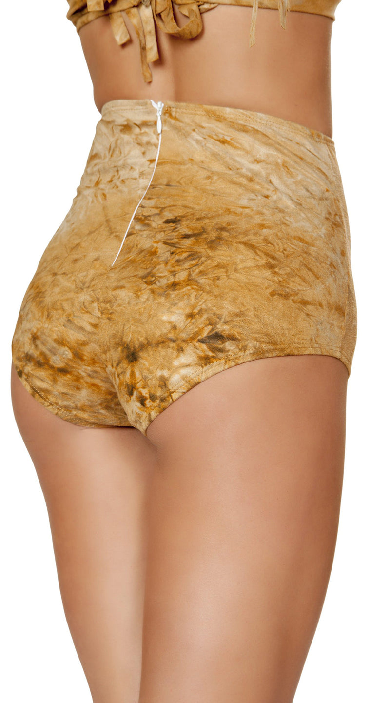 One Piece Brown Tie Dye Suede High-Waisted Shorts