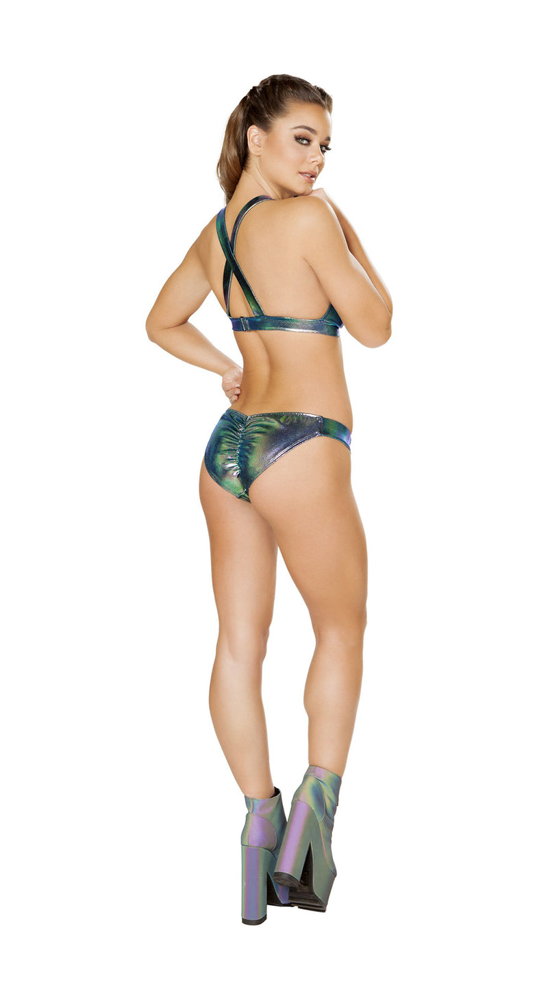 Two Piece Iridescent Bikini Set with Overall Buckle Detail