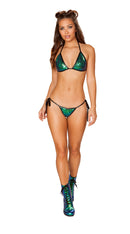 Two Piece Low Rise Tie Side Sequin Bikini Set