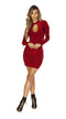 Burgundy Long Sleeved Mini Dress with Cutout Detail