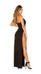 Maxi Length Dress with Deep V Detail & High Slit