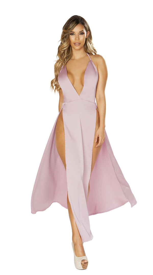 Pink Maxi Length Satin Dress with High Slits & Deep V