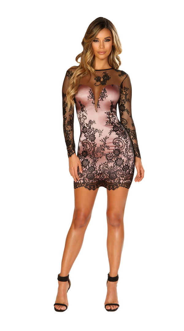 Long Sleeved Eyelash Lace Dress with Pink Satin Lining