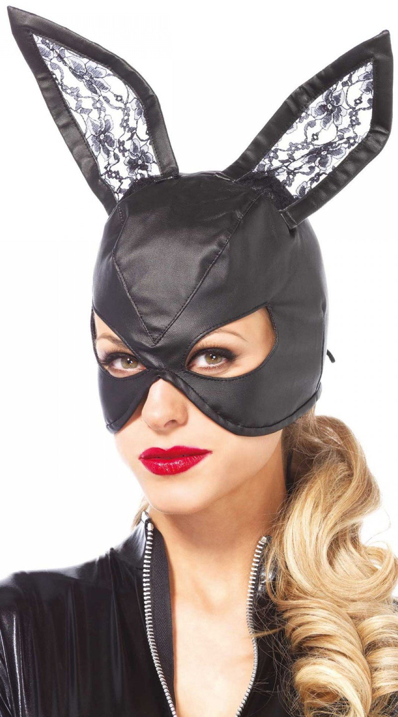 Faux Leather Bunny Mask with Lace Ears