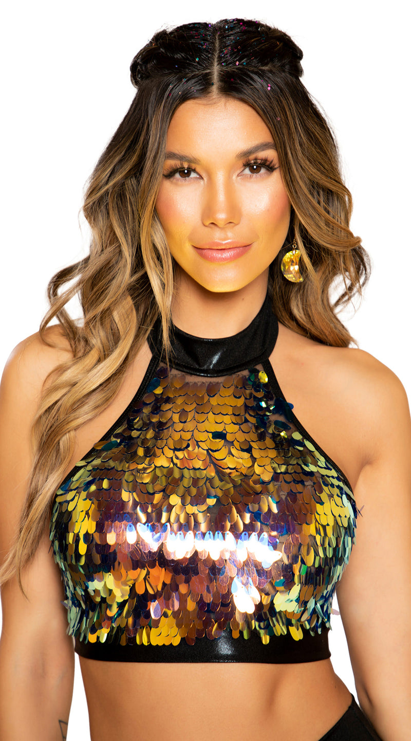 Tear Drop Sequin Crop Top