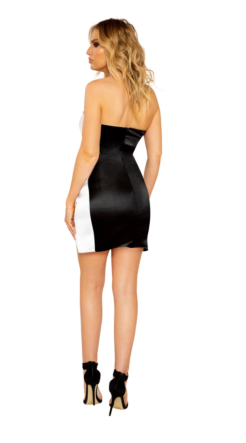 Strapless Overlap Two-Tone Dress