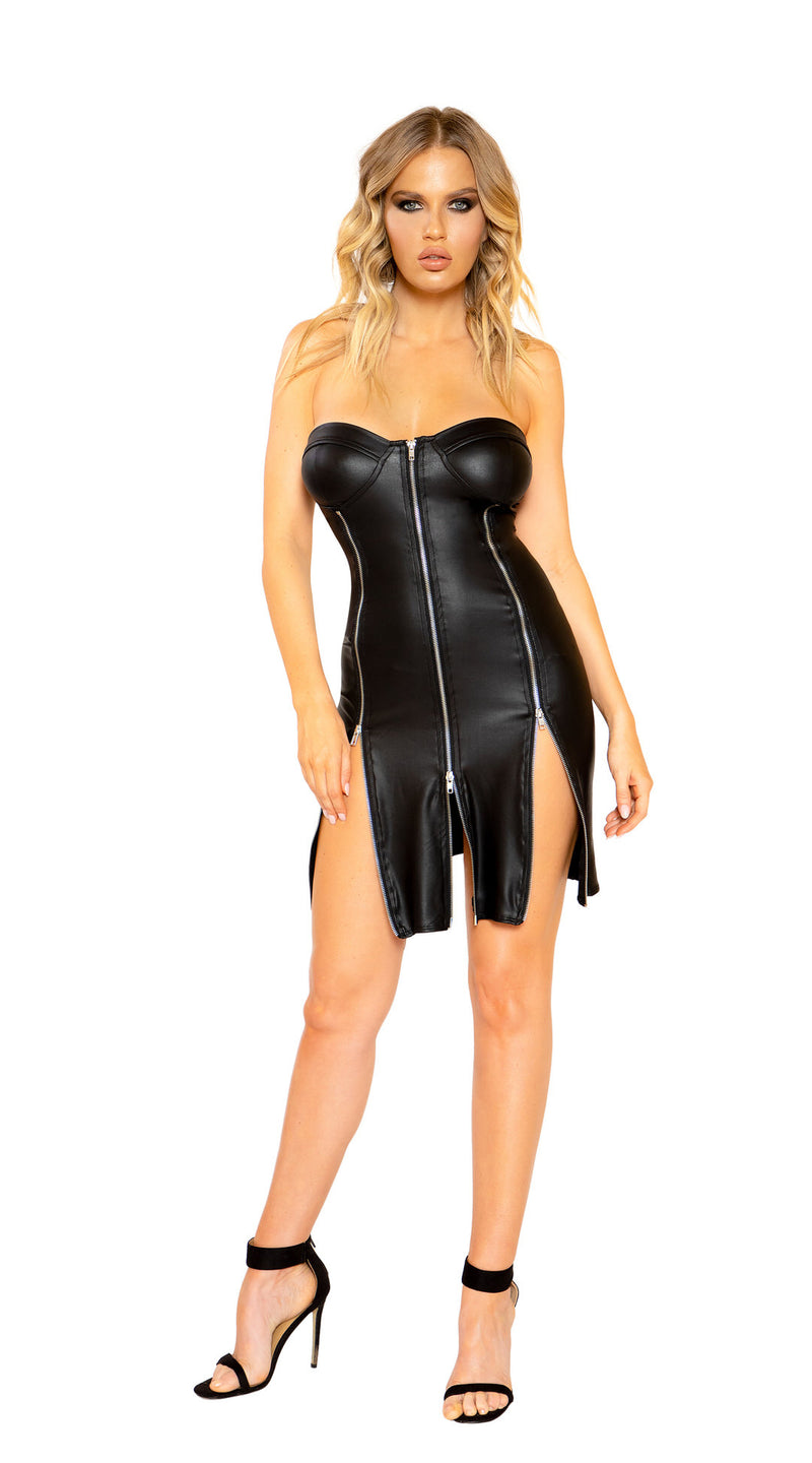 Strapless Leather Look Dress with Triple Zipper Detail