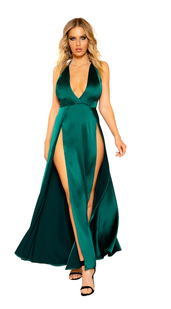Maxi Length Satin Dress with High Slits and Deep Cut