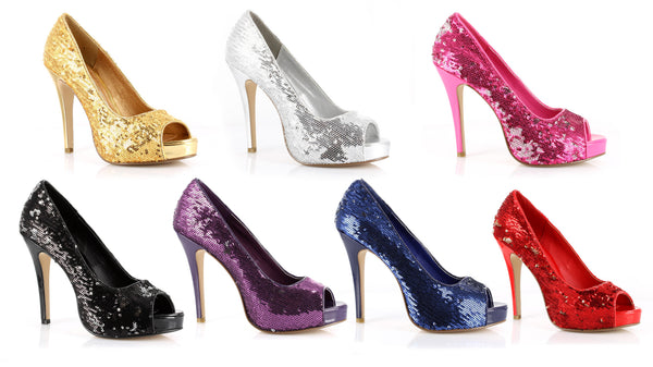 4 Inch Heel Open Toe Glitter Pumps - ElegantStripper