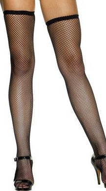 Black fishnet hold-up stockings