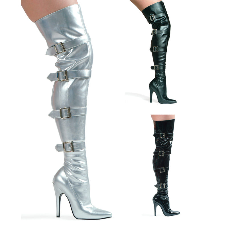5 Inch Heel Stretch Thigh Boot with Buckles & Inner Zipper - ElegantStripper