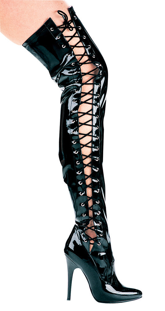 5 Inch Heel Thigh High Stretch Boot with Side Laces - ElegantStripper