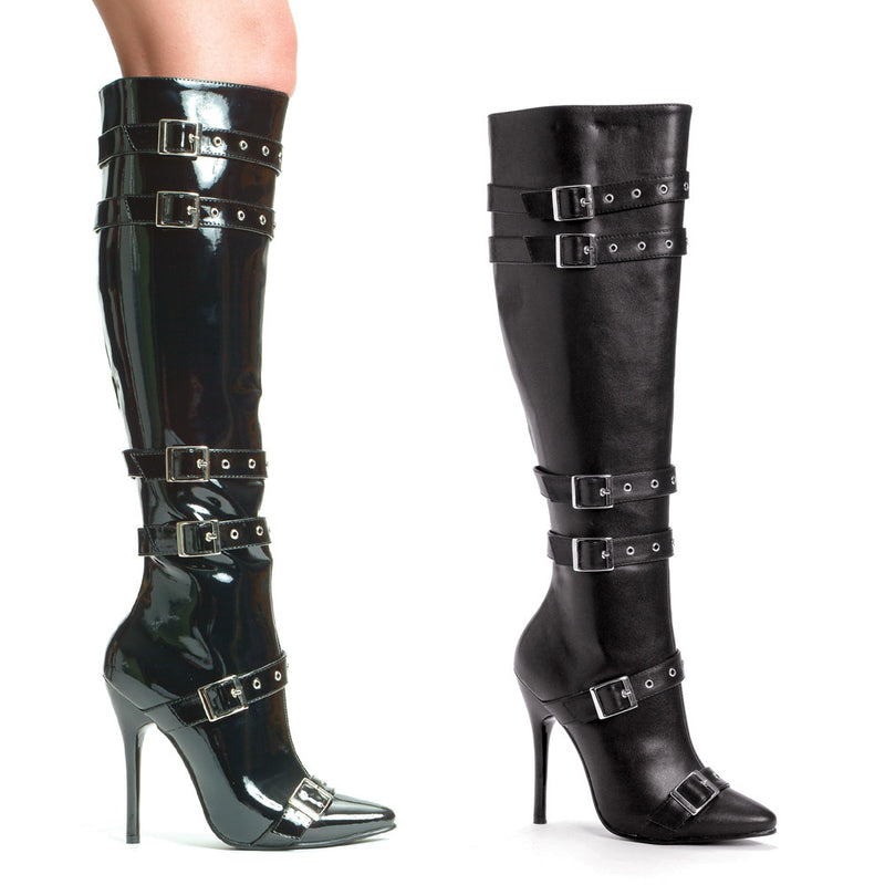 5 Inch Heel Knee High Boots with Buckles & Inner Zipper - ElegantStripper