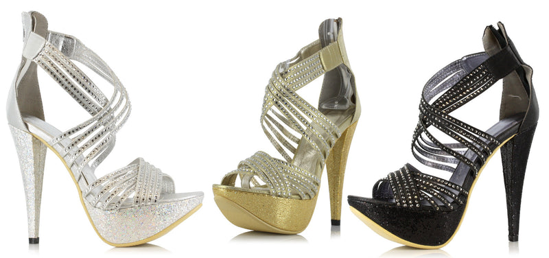 5 Inch Heel Metallic Heel with Tripple Straps - ElegantStripper