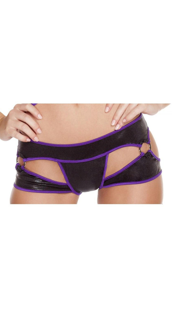 Cut-Out Thong Shorts with O-Rings