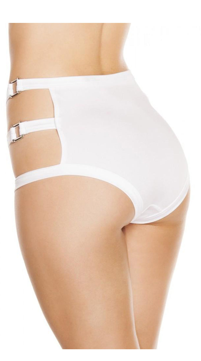 High-Waisted Shorts with Triple Strap & Square Ring Detail