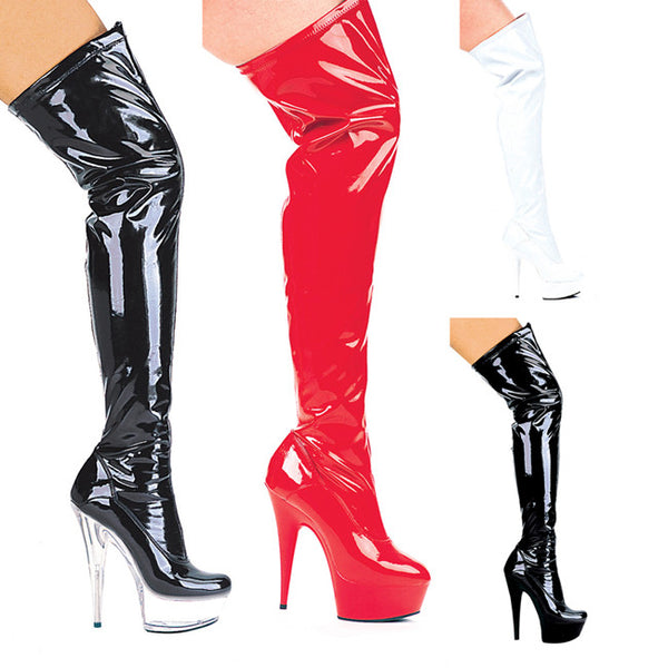 6 Inch Heel Pointed Stiletto Heel Thigh High Stretch Boots