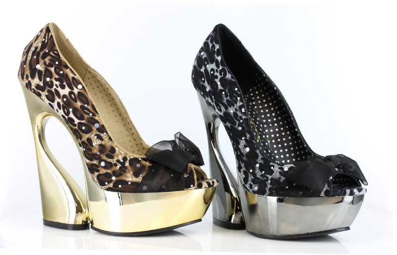5 Inch Heel Curvacious Pump With Lace & Bow in Animal Print - ElegantStripper