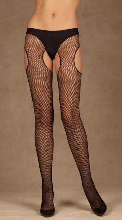 Black Fishnet Suspender Pantyhose - ElegantStripper