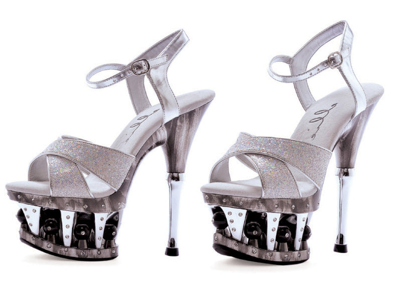 6 Inch Heel Crossed Strap with Disco Ball Platform - ElegantStripper