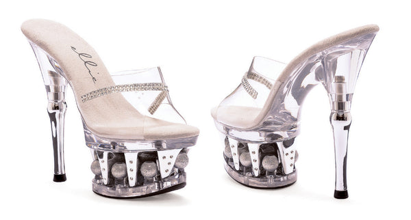 6 Inch Heel Clear Rhinestone Mule with Disco Ball Platform - ElegantStripper