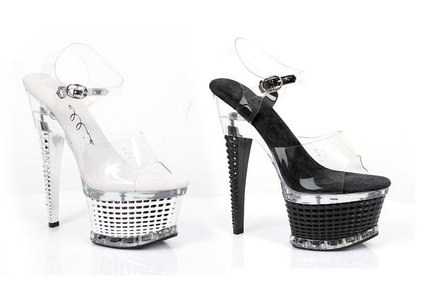 6 Inch Heel Ankle Strap with Textured Platform Diamante Model - ElegantStripper