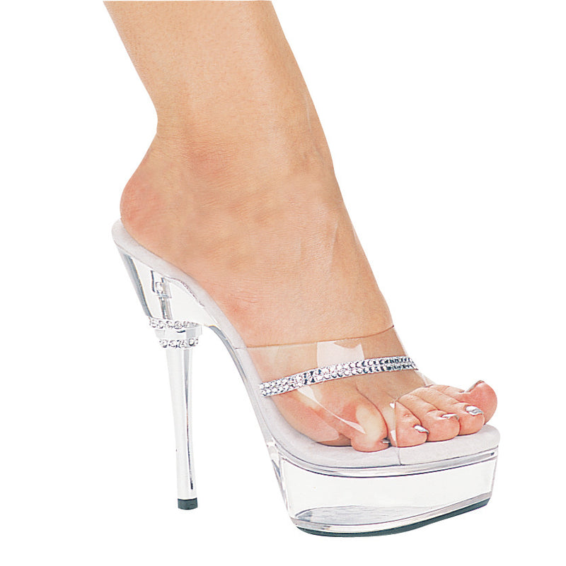 6 Inch Heel Rhinestone Heel Mule with Rhinestone On Upper - ElegantStripper