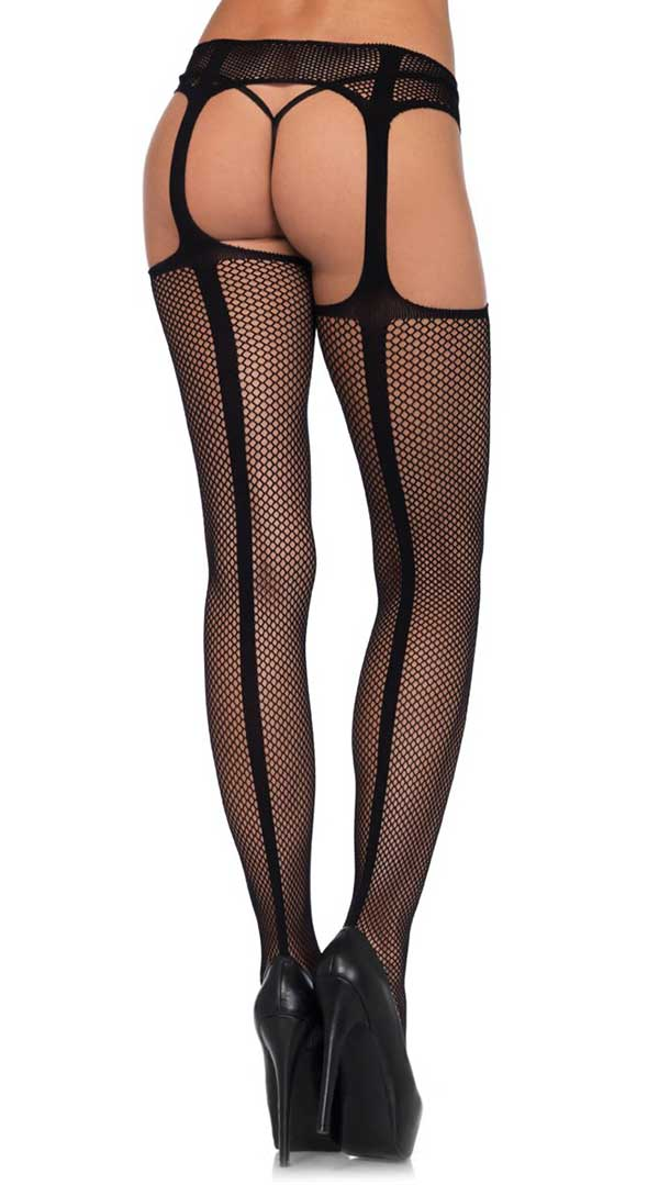 Faux Lace Up Dual Net Back Seam Stockings With Attached Garterbelt