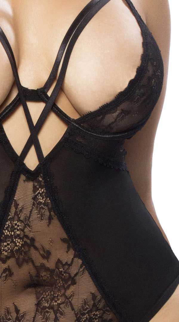 Lace and Mesh Teddy With Underwire & Neck Straps