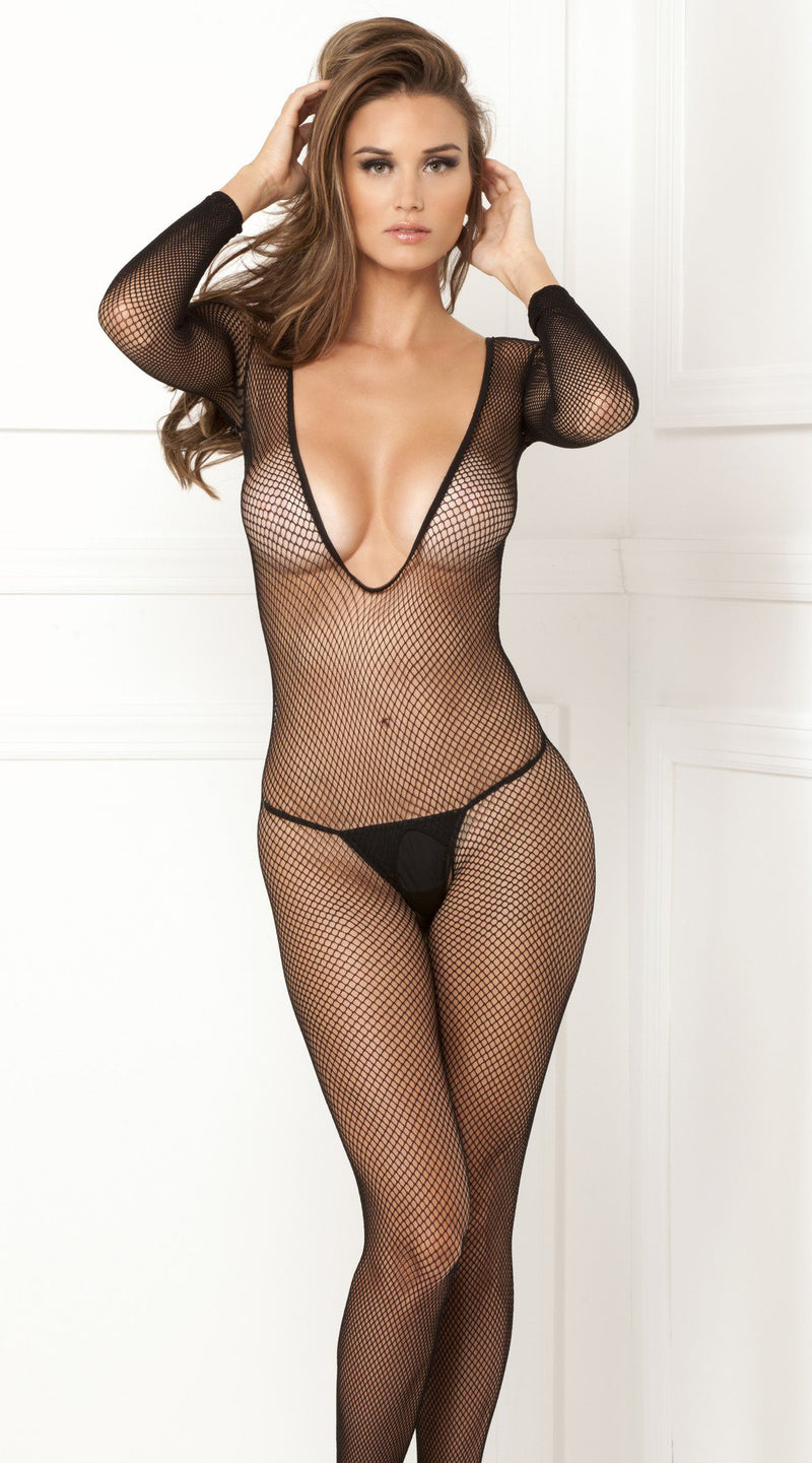 Deep V Long Sleeve Fishnet Bodystocking