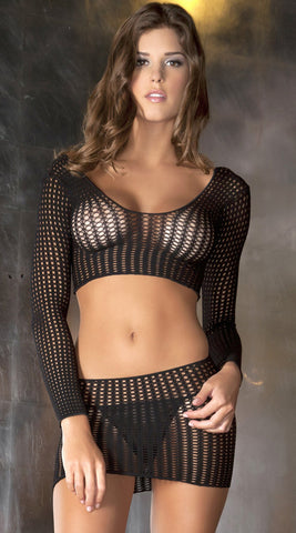 Two Piece Quarter Crochet Net Bodystocking